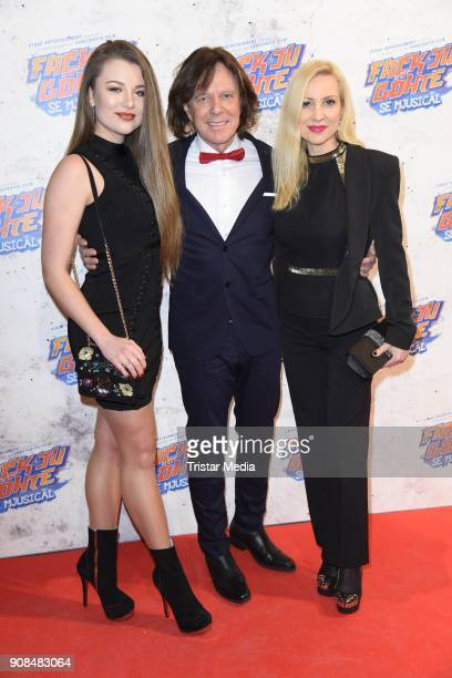 Juergen Drews his wife Ramona Drews and daughter Joelina Drews attend the 'Fack ju Goehte Se Mjusicael' Musical Premiere on January 21 2018 in Munich...