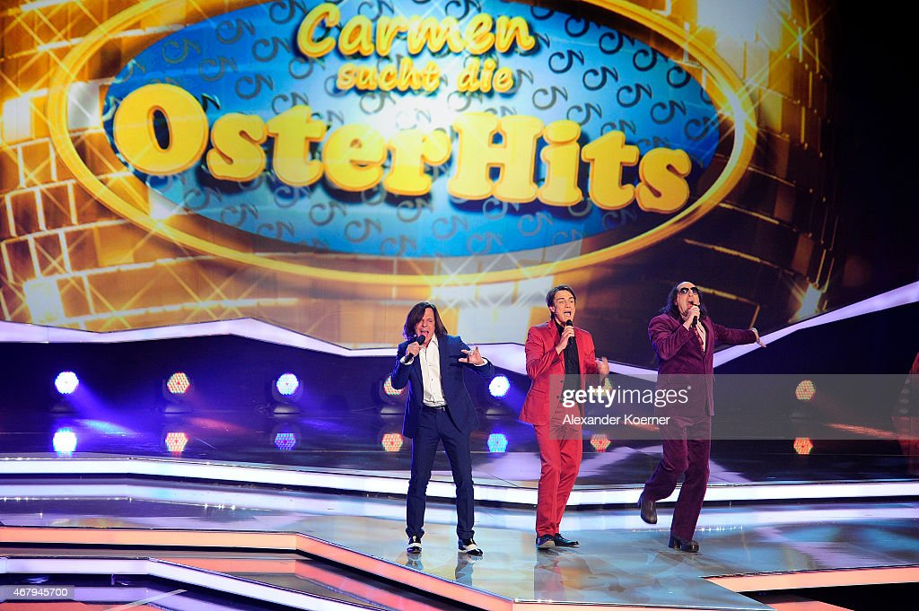 Juergen Drews, Matze Knop and Gildo Horn perform during the national tv show 'Willkommen bei Carmen Nebel' at TUI Arena on March 28, 2015 in Hanover, Germany.