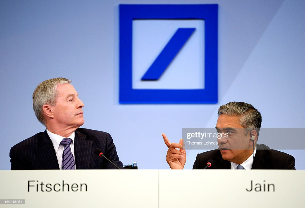 Juergen Fitschen (L) and Anshu Jain Co-CEOs of Deutsche Bank, attend the company's annual press conference to announce its financial results for 2012 on January 31, 2013 in Frankfurt, Germany. Deutsche Bank announced a fourth quarter, pre-tax loss of EUR 2.6 billion, largely due to restructuring and litigation costs.