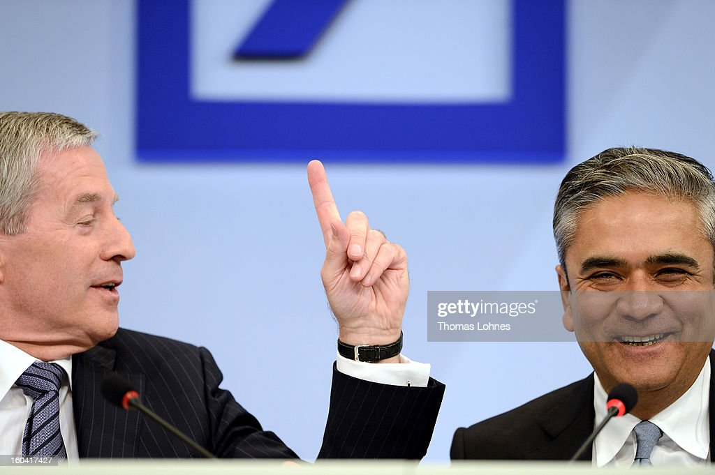 Juergen Fitschen (L) and Anshu Jain, Co-CEOs of Deutsche Bank, attend the company's annual press conference to announce its financial results for 2012 on January 31, 2013 in Frankfurt, Germany. Deutsche Bank announced a fourth quarter, pre-tax loss of EUR 2.6 billion, largely due to restructuring and litigation costs.
