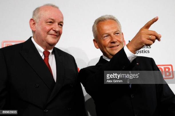 Juergen Grube and CFO Diethelm Sack attend the halfyear results news conference of Germany railway operator Deutsche Bahn on August 20 2009 in...