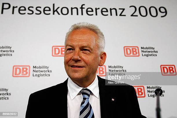 Juergen Grube attends the halfyear results news conference of Germany railway operator Deutsche Bahn on August 20 2009 in Frankfurt am Main Germany...