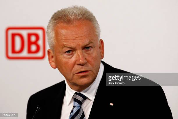 Juergen Grube delivers his speech during the halfyear results news conference of Germany railway operator Deutsche Bahn on August 20 2009 in...