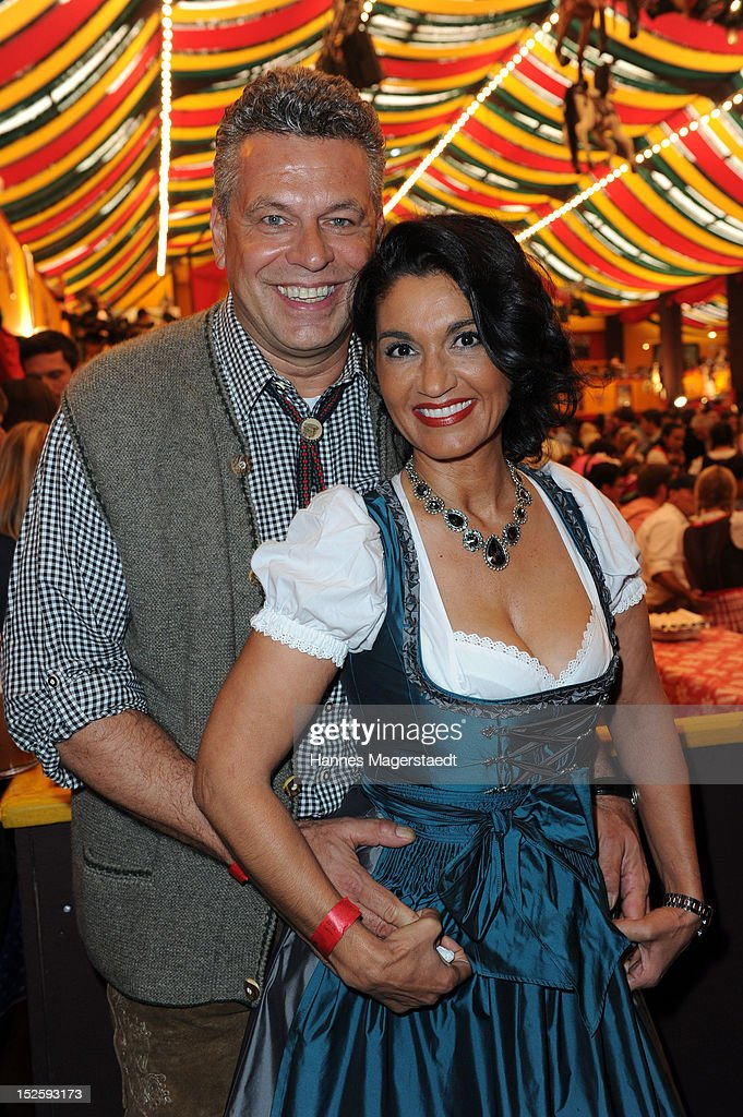 Juergen Hingsen and his girlfriend Francesca Elstermeier attend the Oktoberfest beer festival at Hippodrom on September 22, 2012 in Munich, Germany.