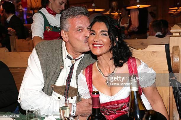 Juergen Hingsen and his partner Francesca Elstermeier during the 'Sauerland Stammtisch' at Oktoberfest 2015 at Weinzelt /Theresienwiese on September...