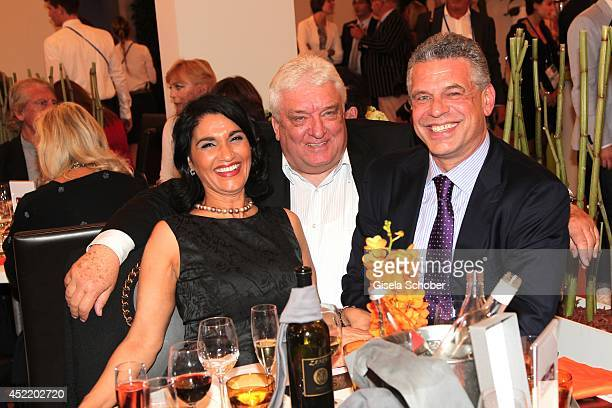 Juergen Hingsen his wife Francesca and Hans Meiser attend the CHIO 2014 media night on July 15 2014 in Aachen Germany