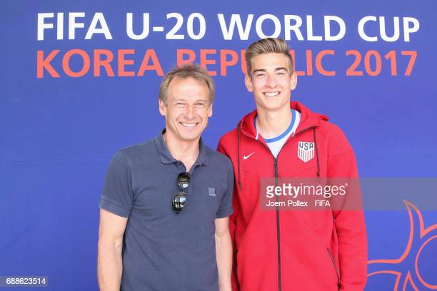 Juergen Klinsmann and his son USA U20 Goalkeeper Jonathan Klinsmann pictured at Sheraton hotel on May 26 2017 in Incheon South Korea