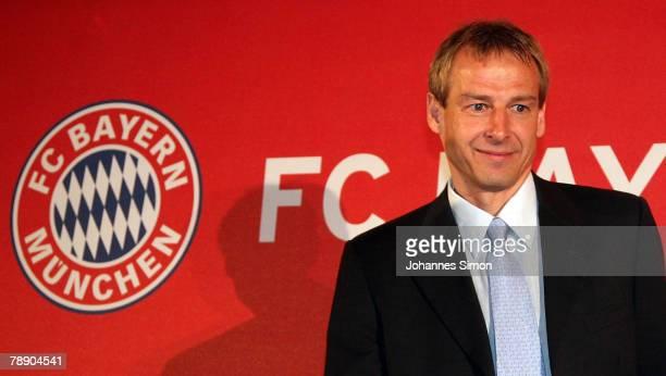 Juergen Klinsmann arrives for a Bayern Munich press conference at the Arabella Sheraton hotel on January 11 2008 in Munich Germany Klinsmann was...