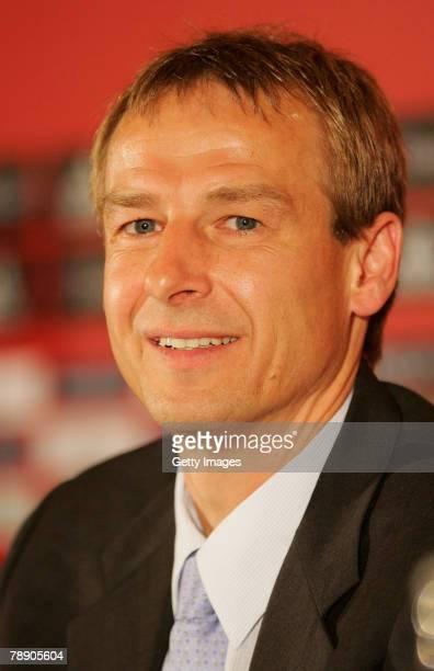 Juergen Klinsmann attends a Bayern Munich press conference at the Arabella Sheraton hotel on January 11 2008 in Munich Germany Klinsmann was...