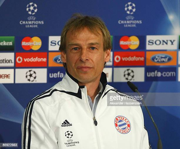 Juergen Klinsmann head coach of Bayern Muenchen looks on during a press conference at the Allianz Arena on April 13 2009 in Munich Germany Bayern...
