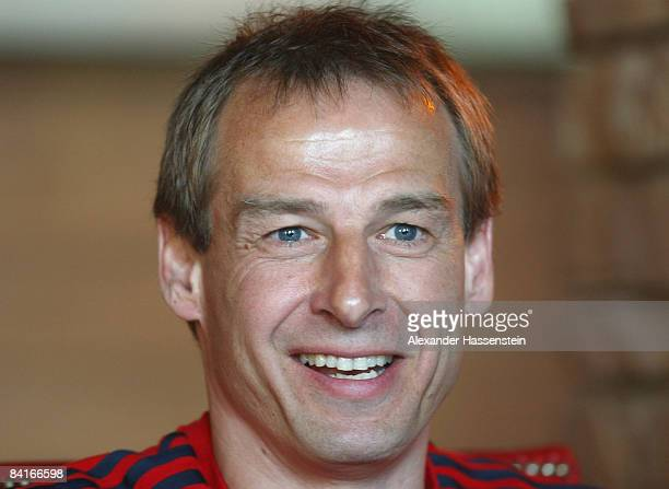 Juergen Klinsmann head coach of Bayern Muenchen smiles during a press conference at the team squad 'The Palace Hotel The Old Town' on January 4 2009...