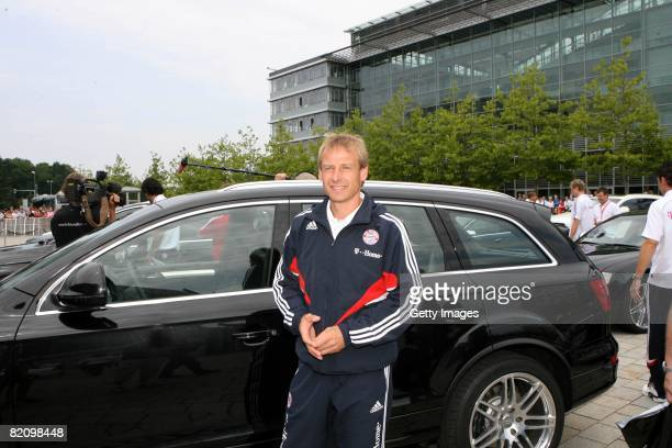 Juergen Klinsmann head coach of Bayern Muenchen smiles during the presentation of Bayern Muenchen's new cars made by Audi on July 29 2008 in...