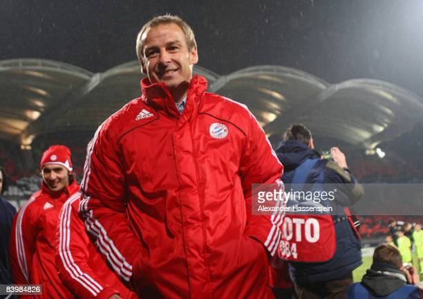 Juergen Klinsmann head coach of Muenchen smiles prior to the UEFA Champions League Group F match between Olympique Lyonnais and FC Bayern Muenchen at...