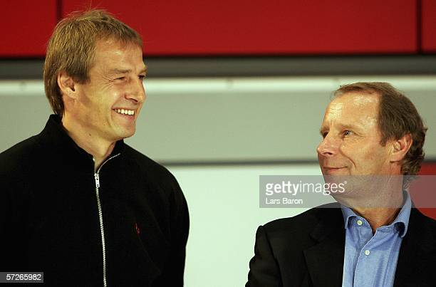 Juergen Klinsmann headcoach of Germany is seen next to Berti Vogts at the Europa Park on April 6 2006 in Rust Germany The opening ceremony of the...