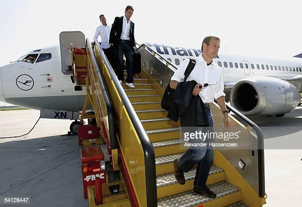 Juergen Klinsmann headcoach of the German National Football Team arrives with the Team at the Bratislava Airport on September 2 2005 in Bratislava...