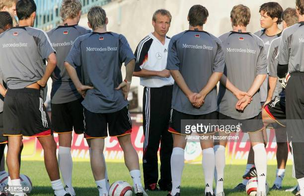 Juergen Klinsmann headcoach of the German National Team talks withthe Team during the training session of the German National Team on September 2...