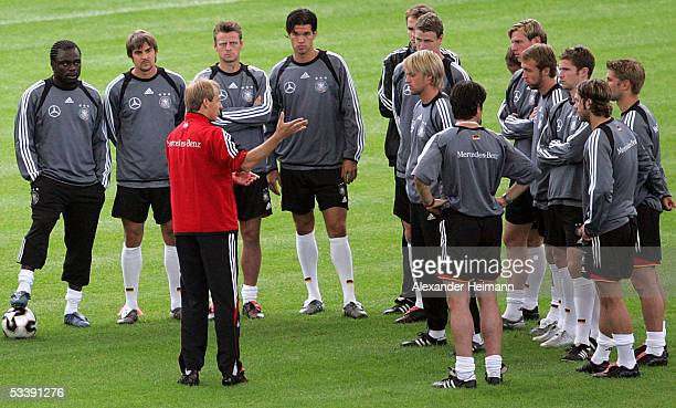 Juergen Klinsmann instructs during the training session of the German National Team in preparation for the friendly game between Netherlands and...