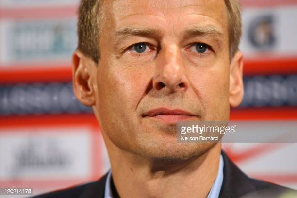 Juergen Klinsmann is presented as the new head coach of the US Men's National Team during a press conference at NikeTown on August 1 2011 in New York...