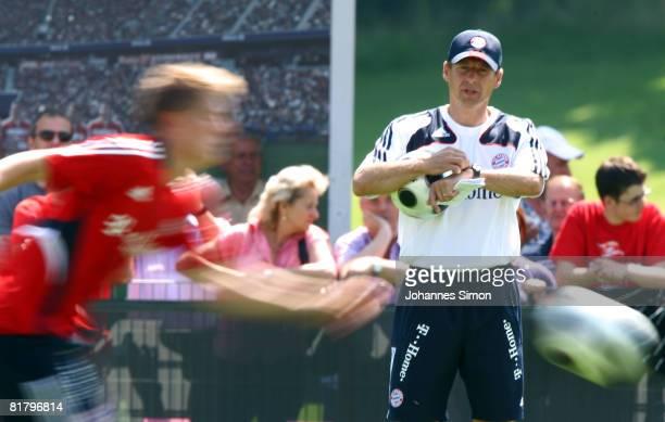 Juergen Klinsmann new head coach of Bayern Munich looks on during the Bayern Munich training session at Bayern's training ground Saebener Strasse on...