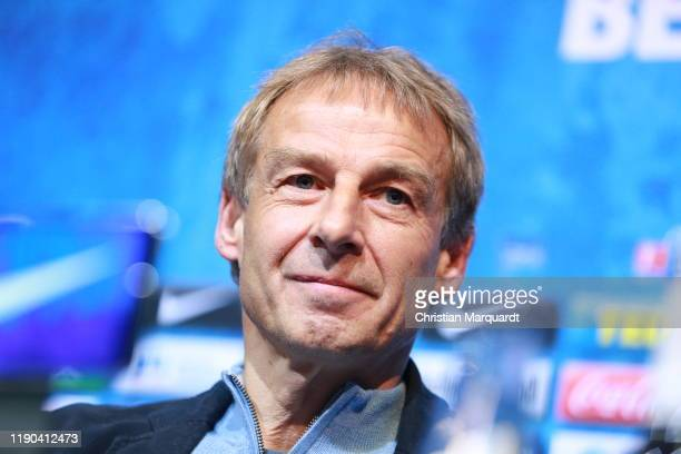 Juergen Klinsmann newly appointed head coach of Hertha BSC Berlin looks on during a press conference on November 27 2019 in Berlin Germany