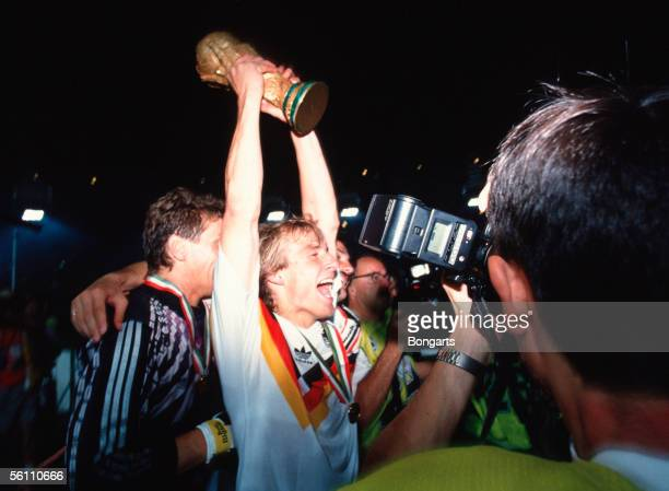 Juergen Klinsmann of Germany celebrate after winning the World Cup final match between Germany and Argentina at the Olympic Stadium on July 08 1990...