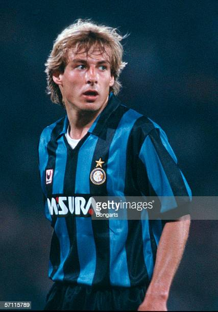 Juergen Klinsmann of Inter looks on during the Serie A match between Inter Milan and AS Rome at the Guiseppe Meazza Stadium on May 01 1991 in Milan...