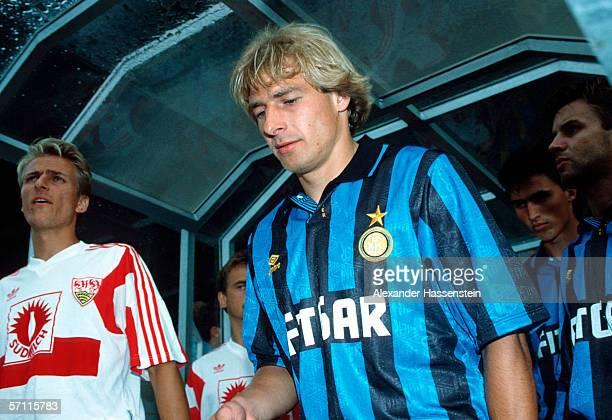 Juergen Klinsmann of Inter Mailand is seen during the friendly match between VfB Stuttgart and Inter Mailand on July 27 1991 in Stuttgart Germany
