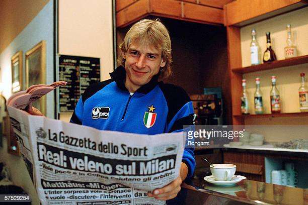 Juergen Klinsmann of Inter Milan posed during a photo call on October 01 1989 in Milan Italy