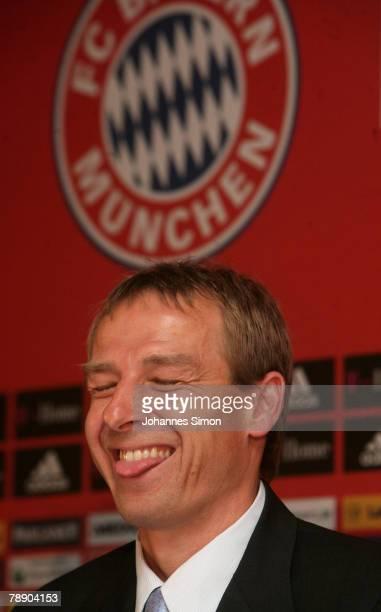 Juergen Klinsmann speaks during a Bayern Munich press conference at the Arabella Sheraton hotel on January 11 2008 in Munich Germany Klinsmann was...