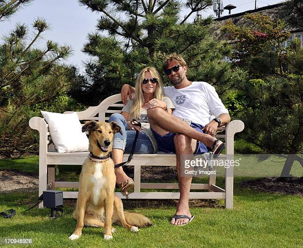 Juergen Klopp and his wife Ulla together with their dog Emma during the Skiclub Kampen season opening on June 20 2013 in Kampen Germany