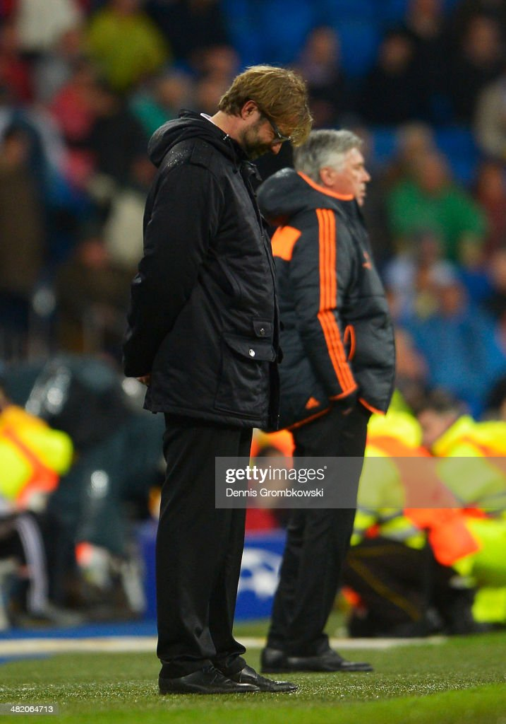 Juergen Klopp, Coach of Borussia Dortmund bows his head during the UEFA Champions League Quarter Final first leg match between Real Madrid and Borussia Dortmund at Estadio Santiago Bernabeu on April 2, 2014 in Madrid, Spain.