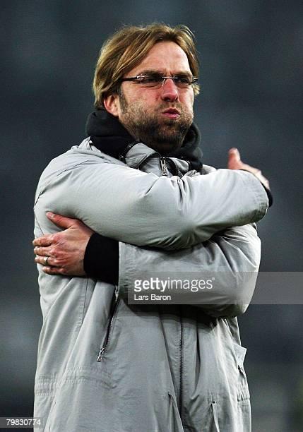 Juergen Klopp, coach of Mainz, gestures after the 2nd Bundesliga match between Borussia Moenchengladbach and FSV Mainz 05 at the Borussia Park on...