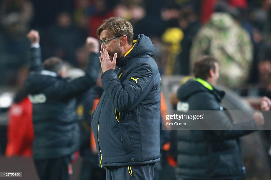 Juergen Klopp, head coach of Dortmund reacts after the Bundesliga match between Borussia Dortmund and FC Augsburg at Signal Iduna Park on February 4, 2015 in Dortmund, Germany.