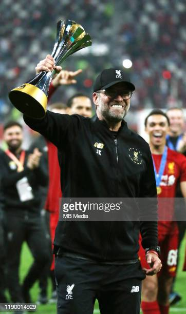 Juergen Klopp Head Coach of Liverpool celebrates after the FIFA Club World Cup Final Match between Liverpool FC and CR Flamengo at Khalifa...
