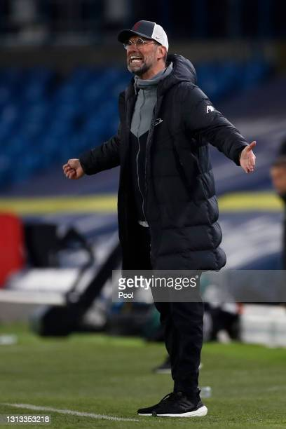 Juergen Klopp, Manager of Liverpool reacts during the Premier League match between Leeds United and Liverpool at Elland Road on April 19, 2021 in...