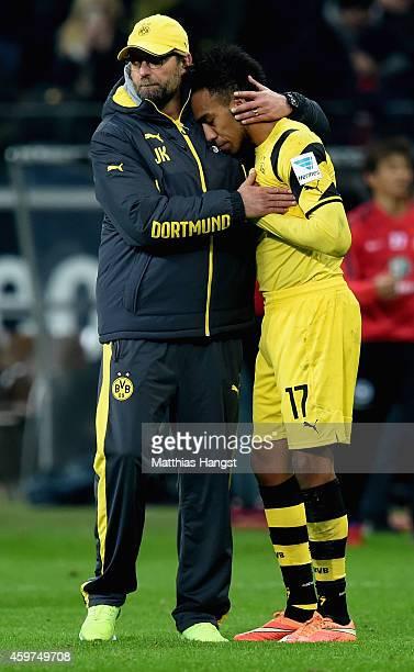 Juergen Klopp of Borussia Dortmund and PierreEmerick Aubameyang look dejected after the Bundesliga match between Eintracht Frankfurt and Borussia...
