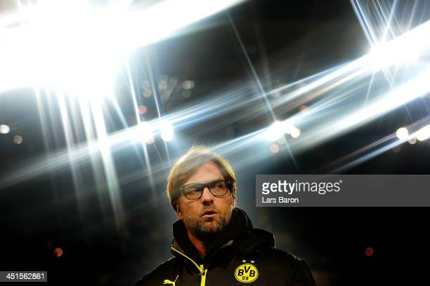 FILTER Juergen Klopp the Dortmund manager looks on prior to the Bundesliga match between Borussia Dortmund and FC Bayern Muenchen at Signal Iduna...