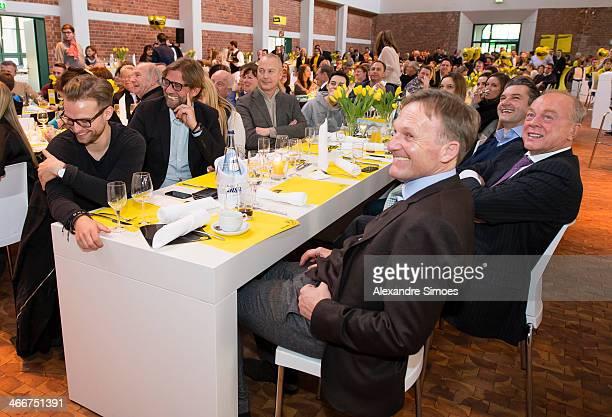 'DORTMUND GERMANY JANUARY 26 Juergen Klopp Thomas TressMichael ZorcGerd PieperHansJoachim Watzke during the Borussia Dortmund New Years Reception on...
