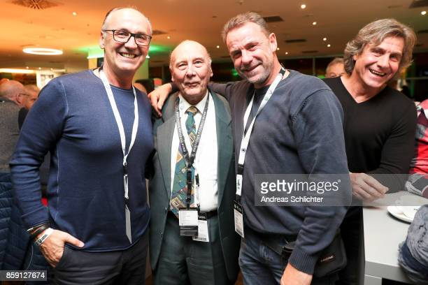 Juergen Kohler Horst Eckel Manfred Binz and Gerald Ehrmann at the club of former national players meeting prior to the FIFA 2018 World Cup Qualifier...