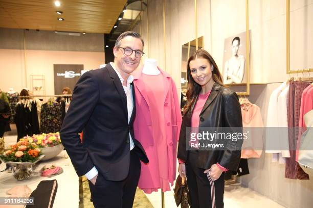 Juergen Leuthe and Laura Wontorra attend the opening of Luisa Cerano Flagship Store on January 27 2018 in Duesseldorf Germany