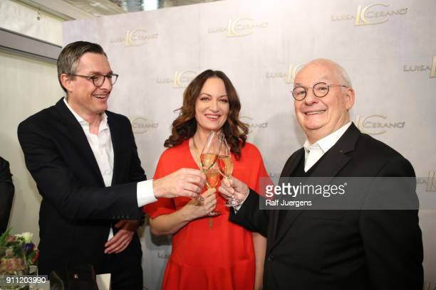 Juergen Leuthe Natalia Woerner and Walter Leuthe attend the opening of Luisa Cerano Flagship Store on January 27 2018 in Duesseldorf Germany