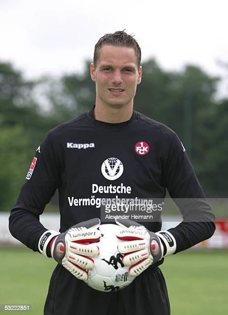 Juergen Macho looks in the camera during the team presentation of 1FC Kaiserslautern for the Bundesliga season 2005 2006 on July 10 2005 in...
