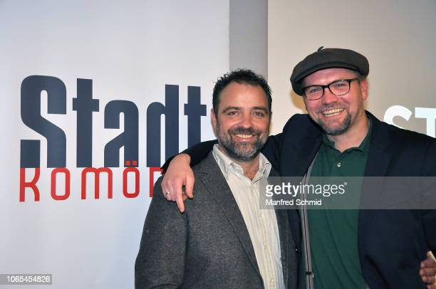Juergen Maurer and Thomas Stipsits pose during the 'Landkrimi Stadkomoedien' photo call at ORF Zentrum on November 26 2018 in Vienna Austria