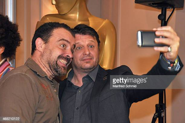 Juergen Maurer and Walter Reiterer pose for a photograph during the Romy Award 2015 Press Conference at Hotel Bristol on March 4 2015 in Vienna...