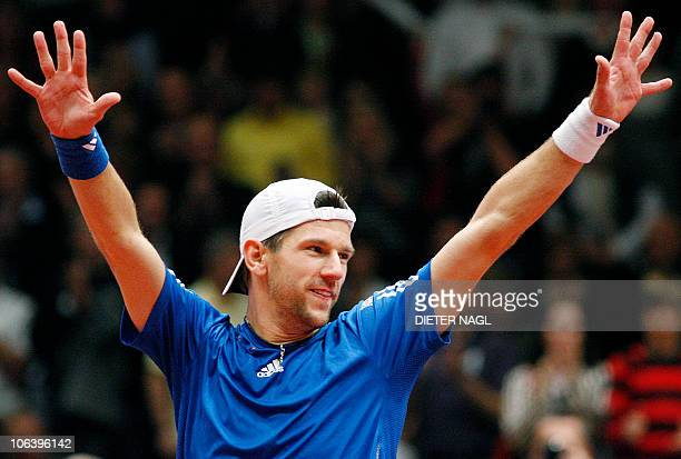 Juergen Melzer of Austria celebrates after winning his match against Andreas HaiderMaurer of Austria during their final of the ATP tennis tournament...