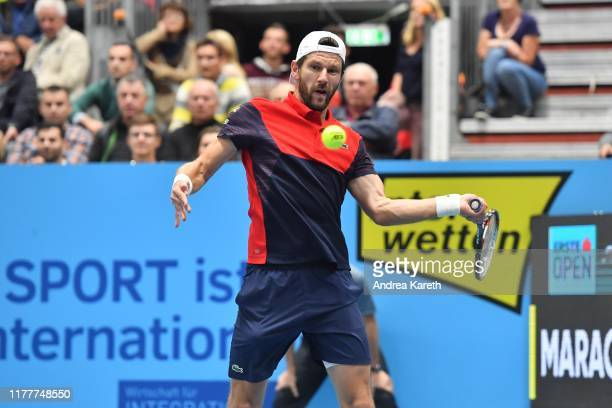 Juergen Melzer of Austria during the doubles round of 16 match between Oliver Marach of Austria and Juergen Melzer of Austria and Rohan Bopanna of...