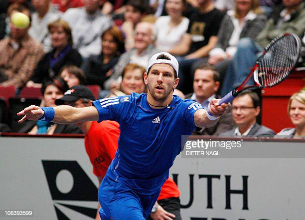 Juergen Melzer of Austria returns a ball by Andreas Haider Maurer of Austria during the final of the ATP tennis tourmement on October 312010 in...