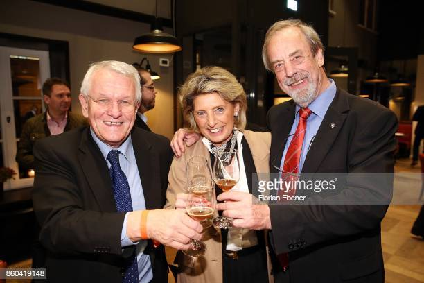 Juergen Rehmann Elke Karl and Adolf Karl RehmannNetzband attend the Housewarming Party at Andreas Quartier GmbH on October 11 2017 in Duesseldorf...