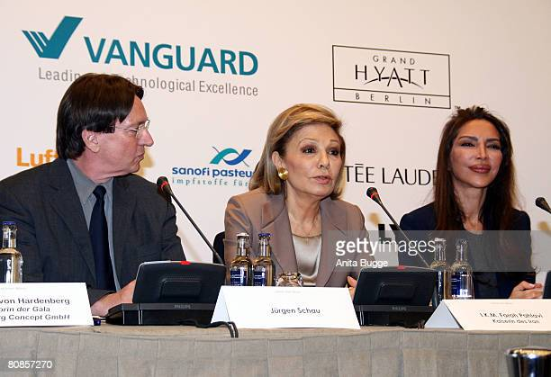Juergen Schau IKM Farah Pahlavi the former Empress of Iran and Homayra Sellier president of the Innocence in Danger foundation speak at a press...
