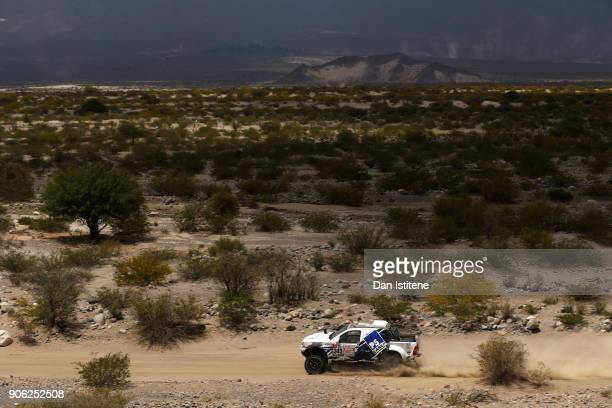 Juergen Schroeder of Germany and South Racing drives with codriver Maximilian Schroeder of Germany in the Toyota car in the Classe T11 4x4 Essence...